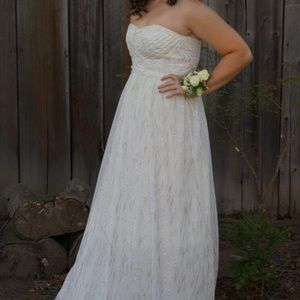 Strapless off white prom dress
